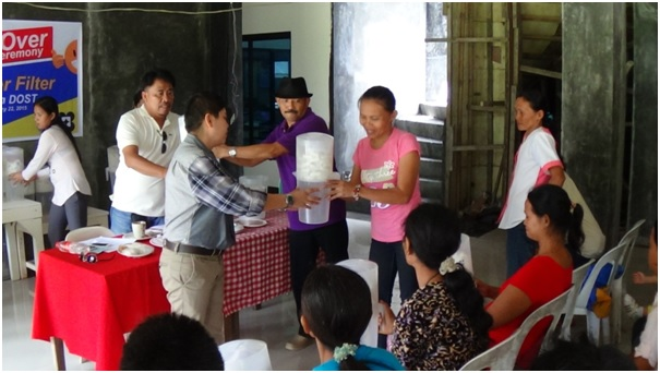 Turn-Over  of DOST's Ceramic Water Filter,   January 22, 2015,   LGU-Siayan, Zamboanga del Norte   Municipal Mayor Flora L. Villarosa  together with the DOST-PSTC ZdNorte  Provincial Director  Engr. Marcial R. Dahonan spearheaded the distribution.